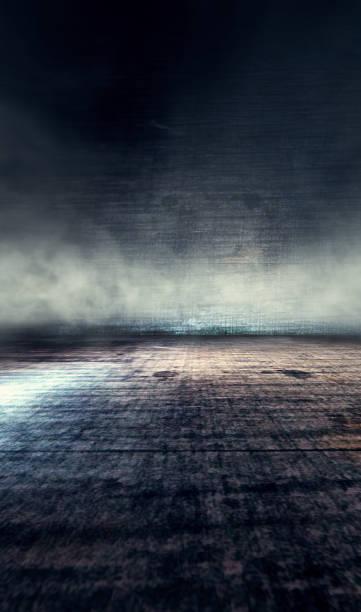 Smoke or fog and spotlight in dark space stock photo