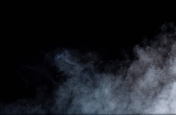 smoke or fog steam set on black color background . hazy steam curls for decorative special effect . cigarette fumes or dry ice smoking design. - ice on fire foto e immagini stock