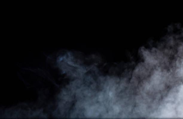 smoke or fog steam set on black color background . hazy steam curls for decorative special effect . cigarette fumes or dry ice smoking design. - smoke стоковые фото и изображения