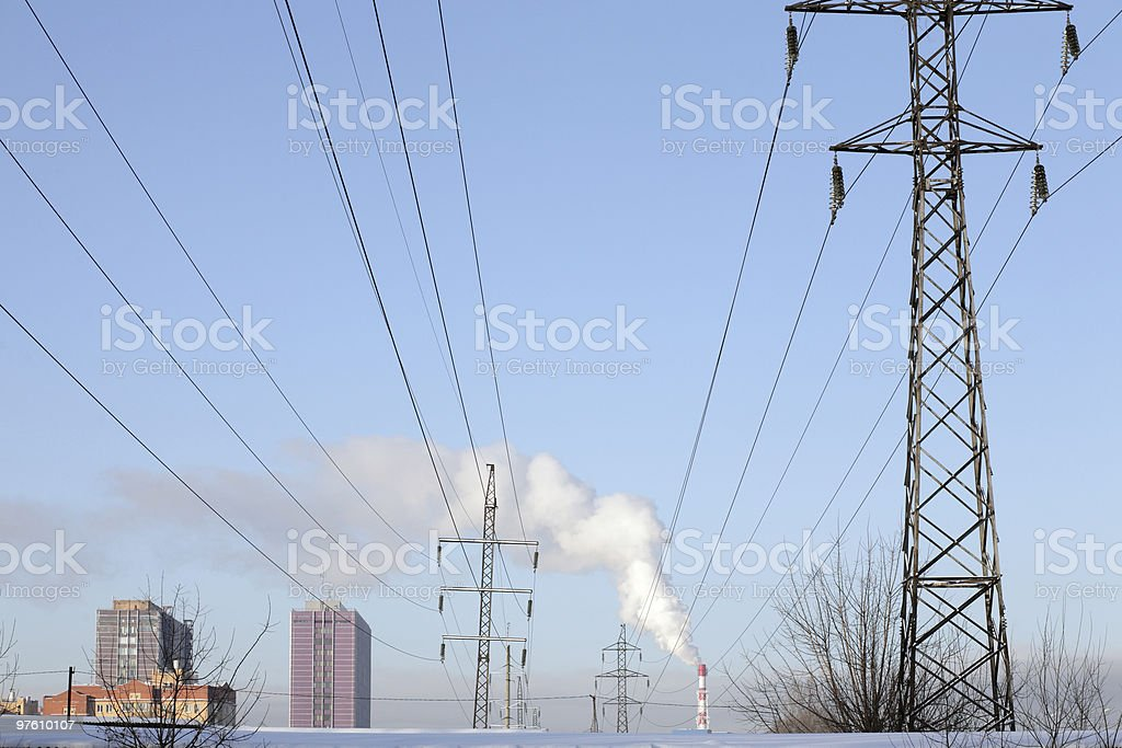 smoke pipe on sky background royalty-free stock photo