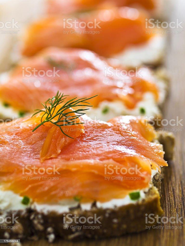 smoke salmon sandwich stock photo