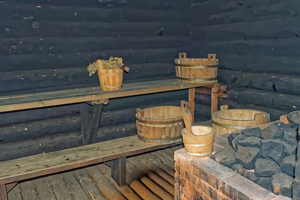 Smoke sauna stock photo