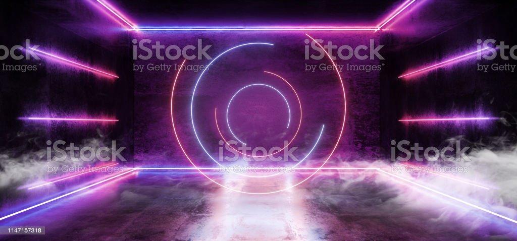 Smoke Sci Fi Circle Neon Futuristic Purple Blue Cold Club Stage Room...