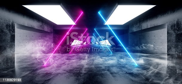 909529832 istock photo Smoke Sci Fi Triangle Shaped Neon Background Glowing Concrete Cyberpunk White Blue Purple Grunge Reflective Texture Underground Tunnel Corridor Garage Studio Lights 3D Rendering 1135829193