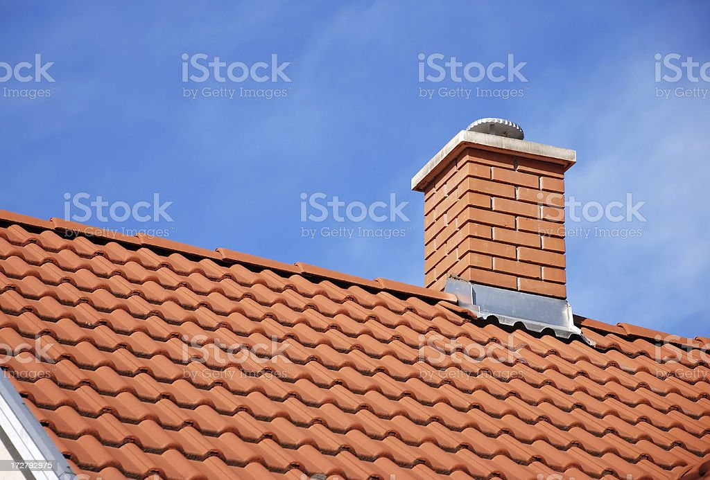 smoke stack and roof stock photo
