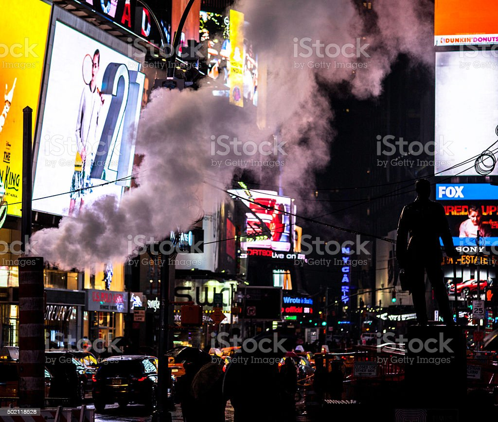 Smoke stack lets steam out. Times Square. NYC. stock photo