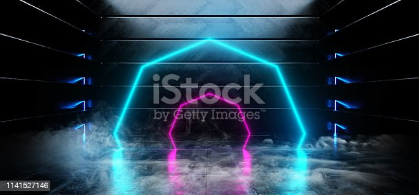 Smoke Virtual Dark Empty Spaceship Alien Glossy Reflective Concrete Neon Glowing Fluorescent Purple Blue Vibrant Circle Shaped Lights Cyber Reality Sci Fi Futuristic 3D Rendering Illustration