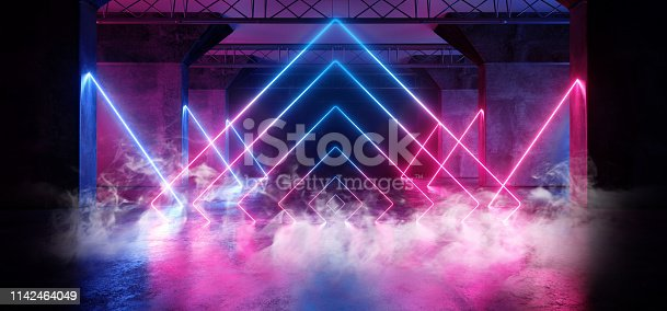 istock Smoke Virtual Path Sci Fi Neon Glowing Fluorescent Laser Alienship Stage Dance Lights Ultraviolet Purple Blue Pink In Dark Empty Grunge Concrete Neon Reflective Tunnel Hall Corridor 3D Rendering 1142464049