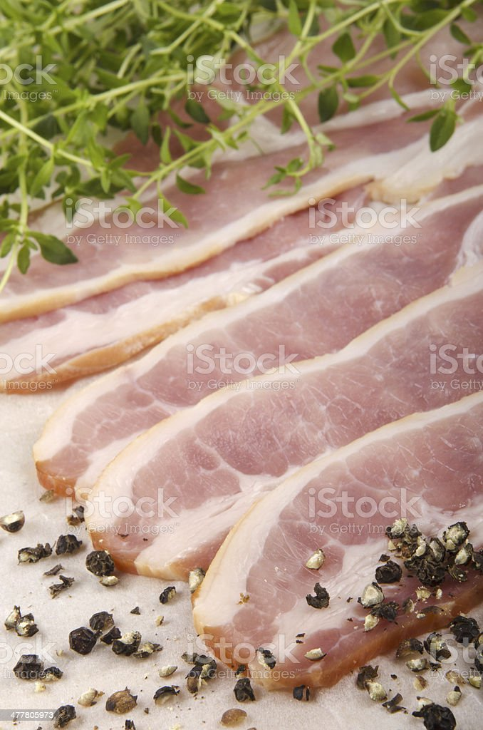 smoked bacon with thyme royalty-free stock photo
