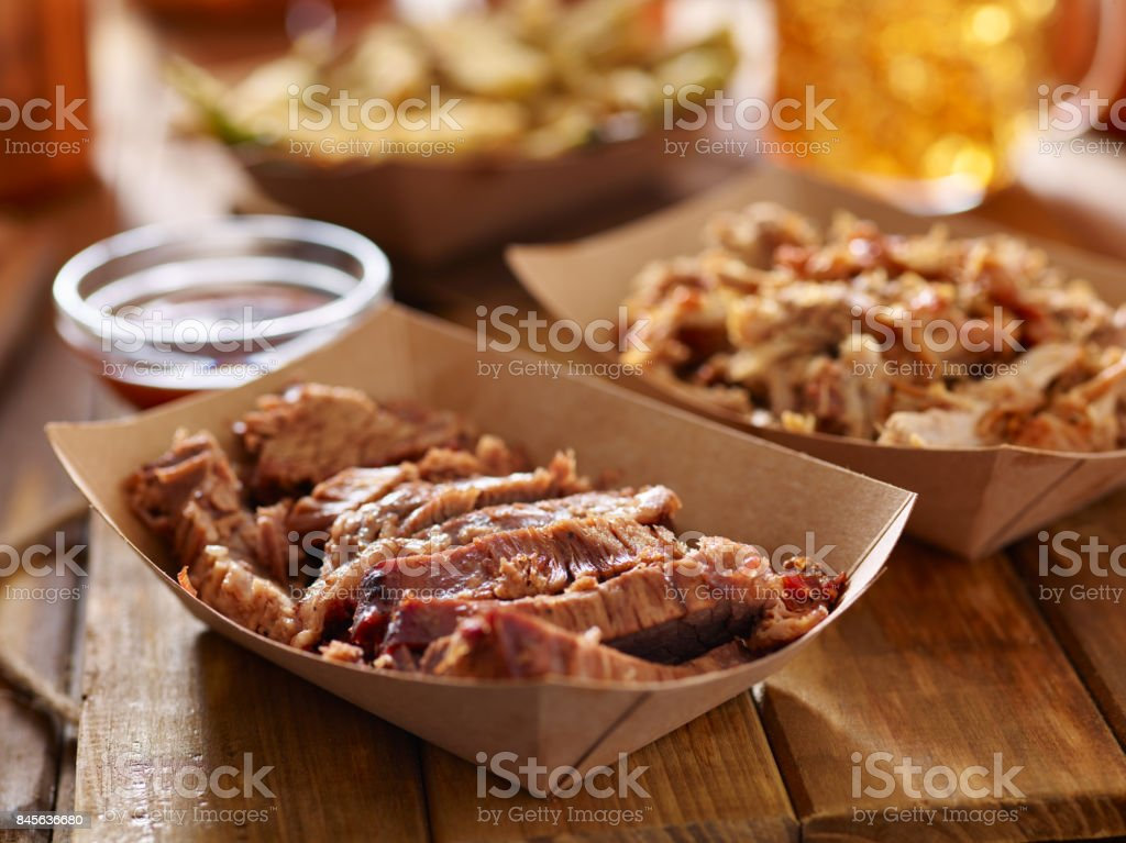 smoked barbecue beef brisket in container stock photo