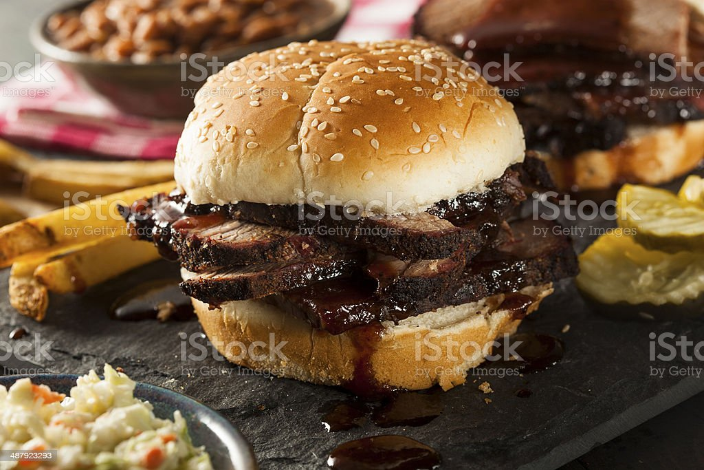Smoked Barbecue Brisket Sandwich with Coleslaw stock photo