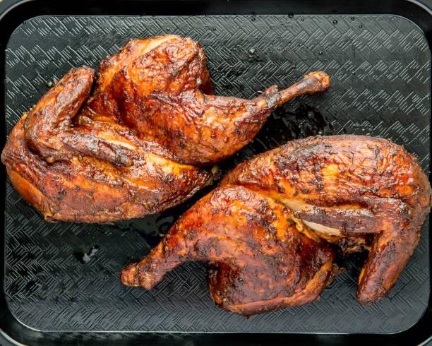 Smoked Barbecue Half Chicken stock photo