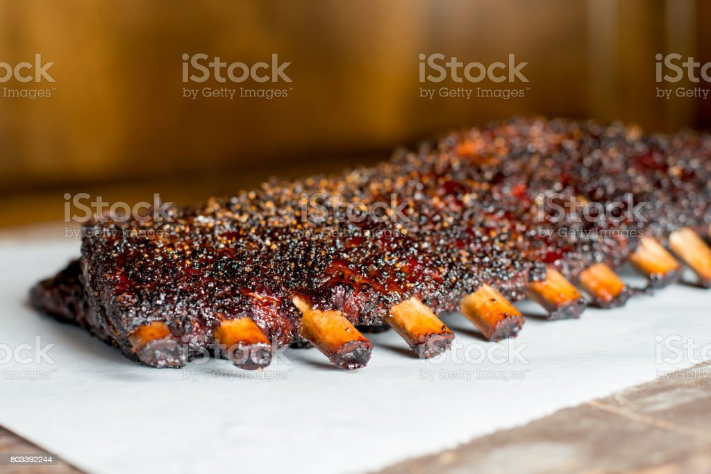 Smoked Barbecue Pork Ribs stock photo