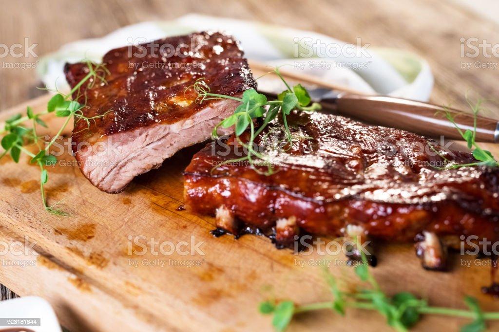 Smoked Barbecue Pork Spare Ribs stock photo