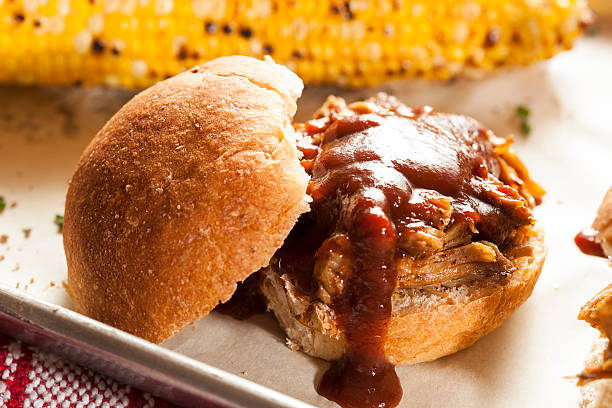 Smoked Barbecue Pulled Pork Sliders stock photo