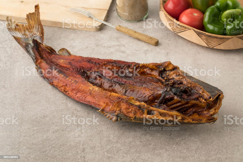Smoked catfish close up zbiór zdjęć royalty-free