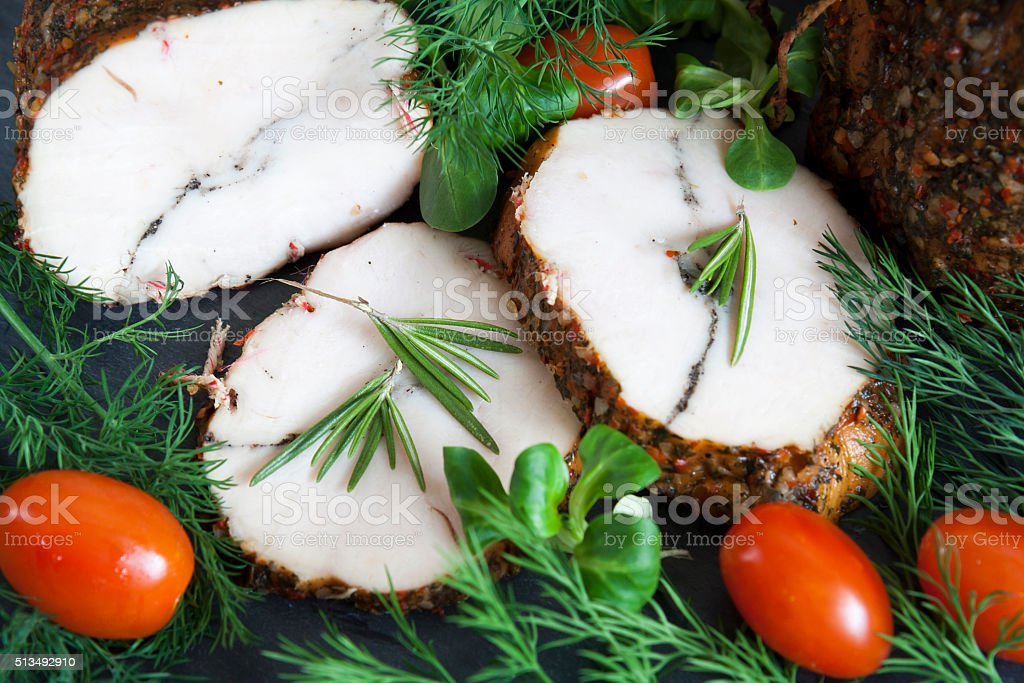 Smoked chicken fillet with spicy royalty-free stock photo