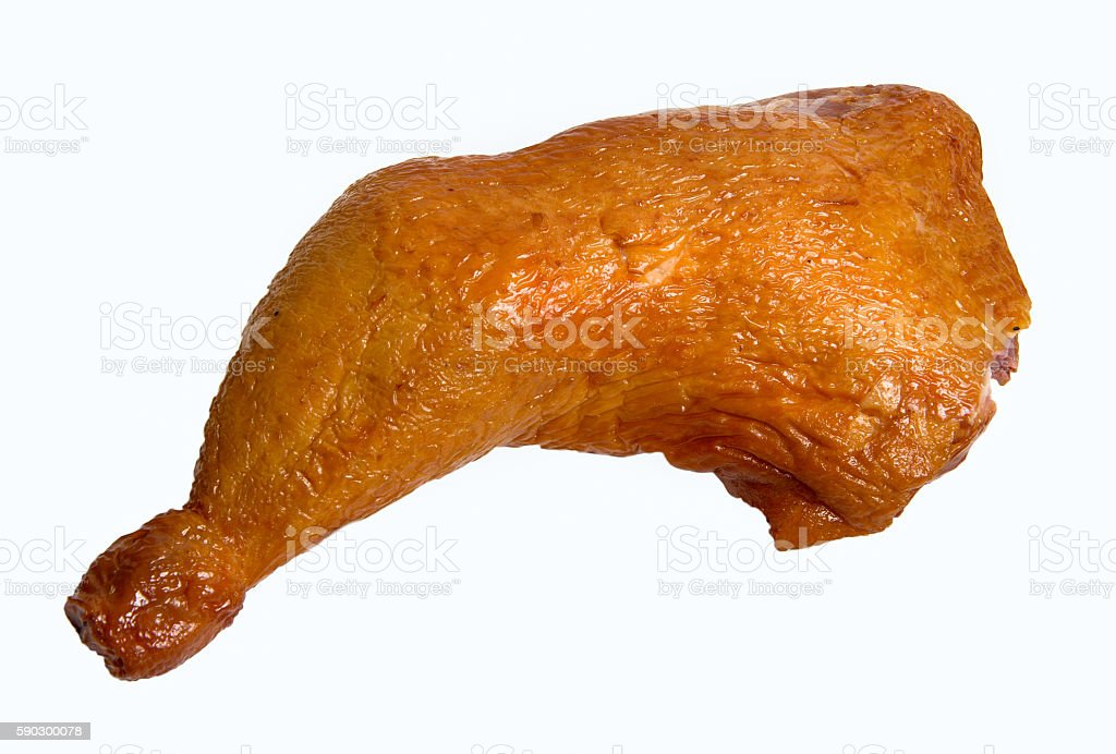 smoked Chicken leg isolated on white background royaltyfri bildbanksbilder
