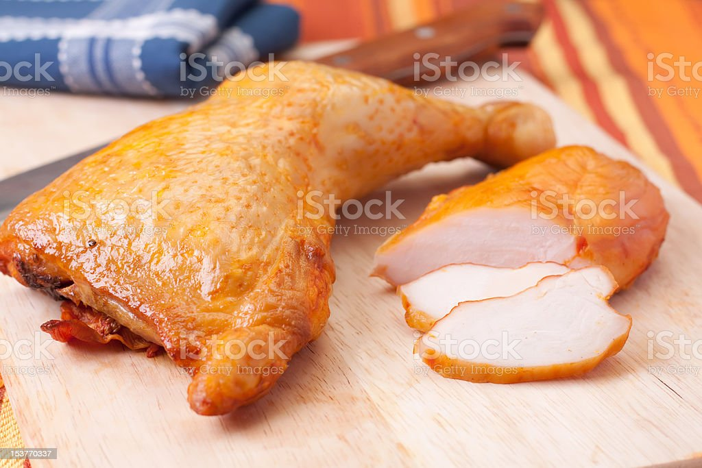 smoked chicken meat stock photo