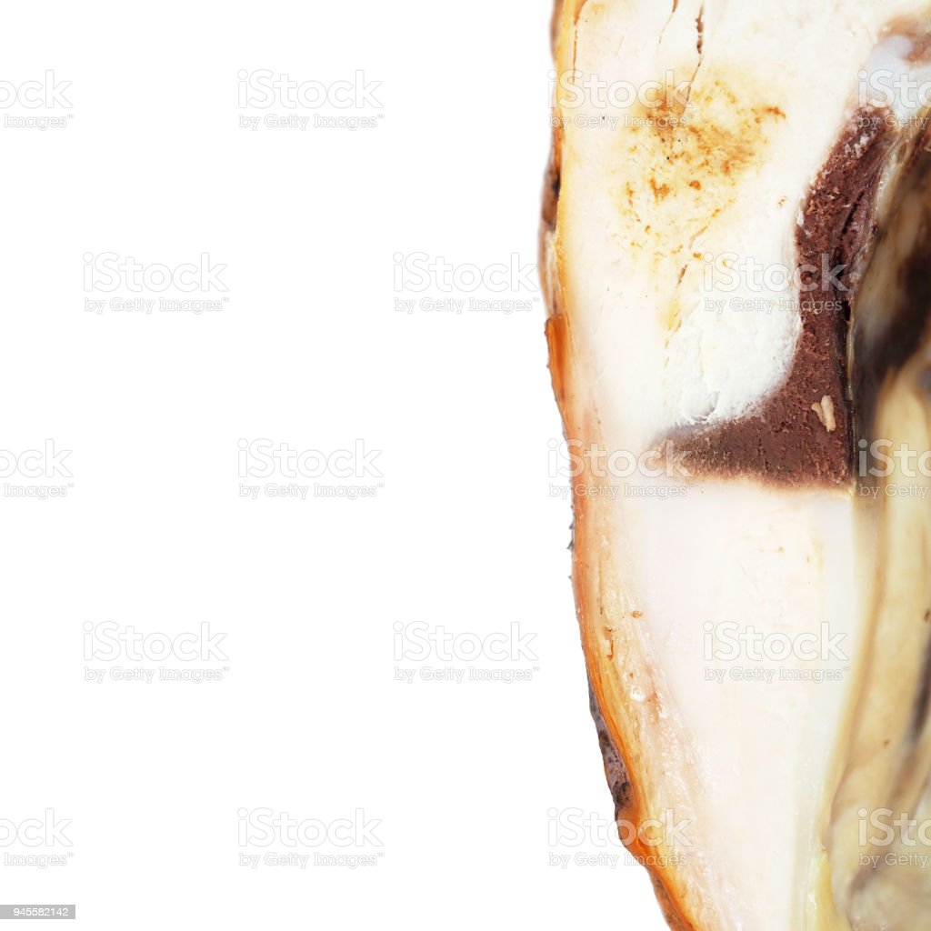 Smoked chicken with a ruddy crust isolated on a white background. Festive dish. Half fried chicken. Appetizing meat product of golden color, white meat, barbecue. Inside view, close-up, space for text stock photo