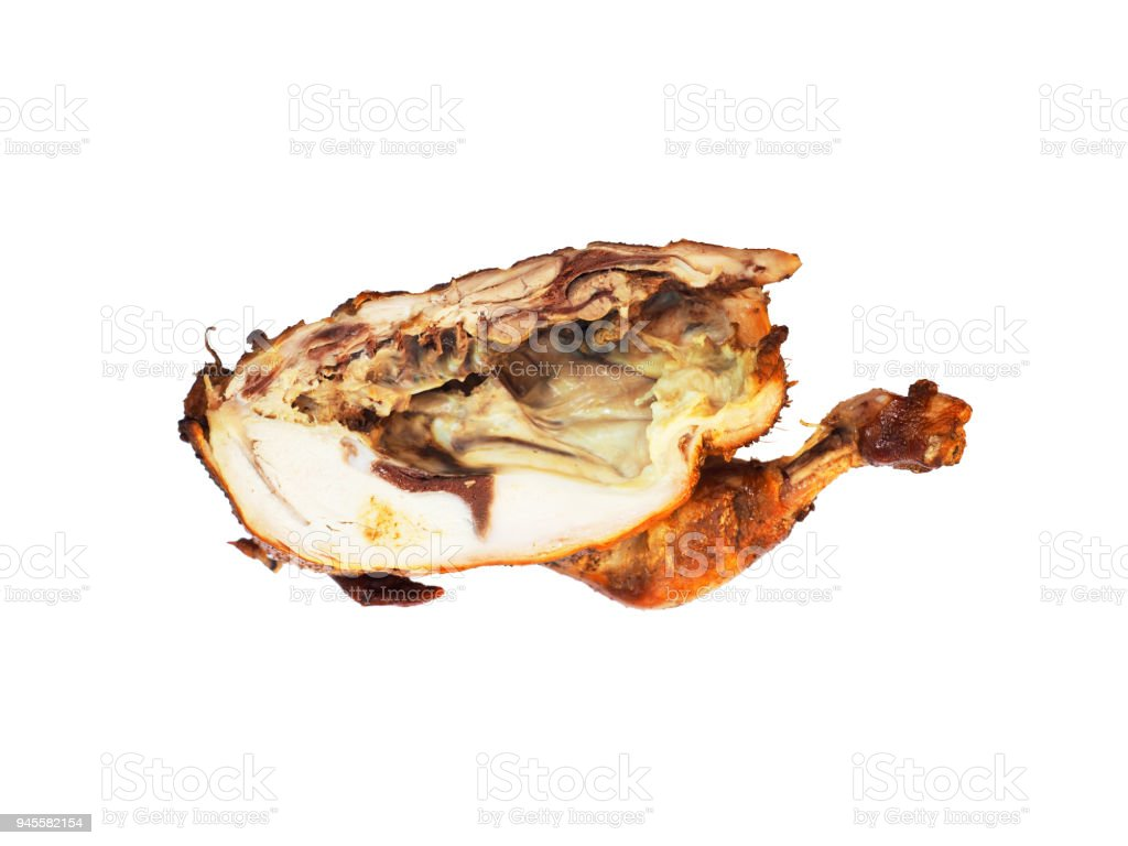 Smoked chicken with a ruddy crust isolated on a white background. Festive dish. Half fried chicken. Appetizing meat product of golden color, white meat, barbecue. Inside view stock photo