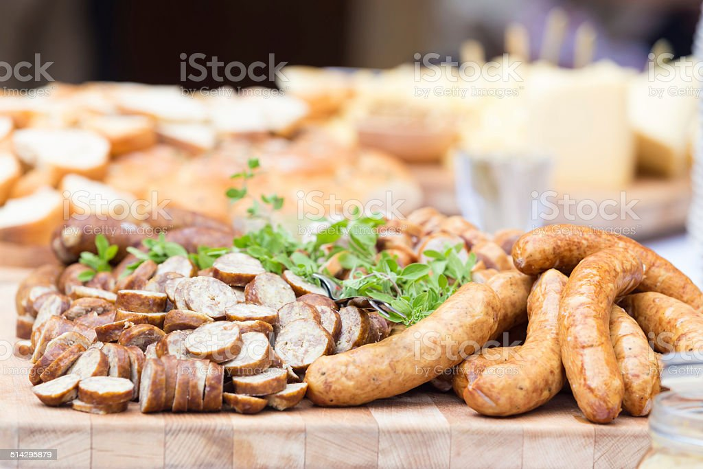 Smoked dry sausage cold cuts. stock photo