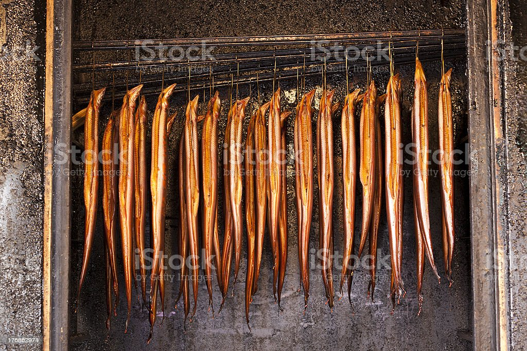 smoked eel stock photo