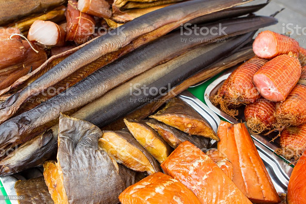 Smoked fish stall stock photo