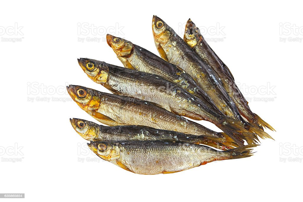 smoked fish whitefish on plate on white stock photo