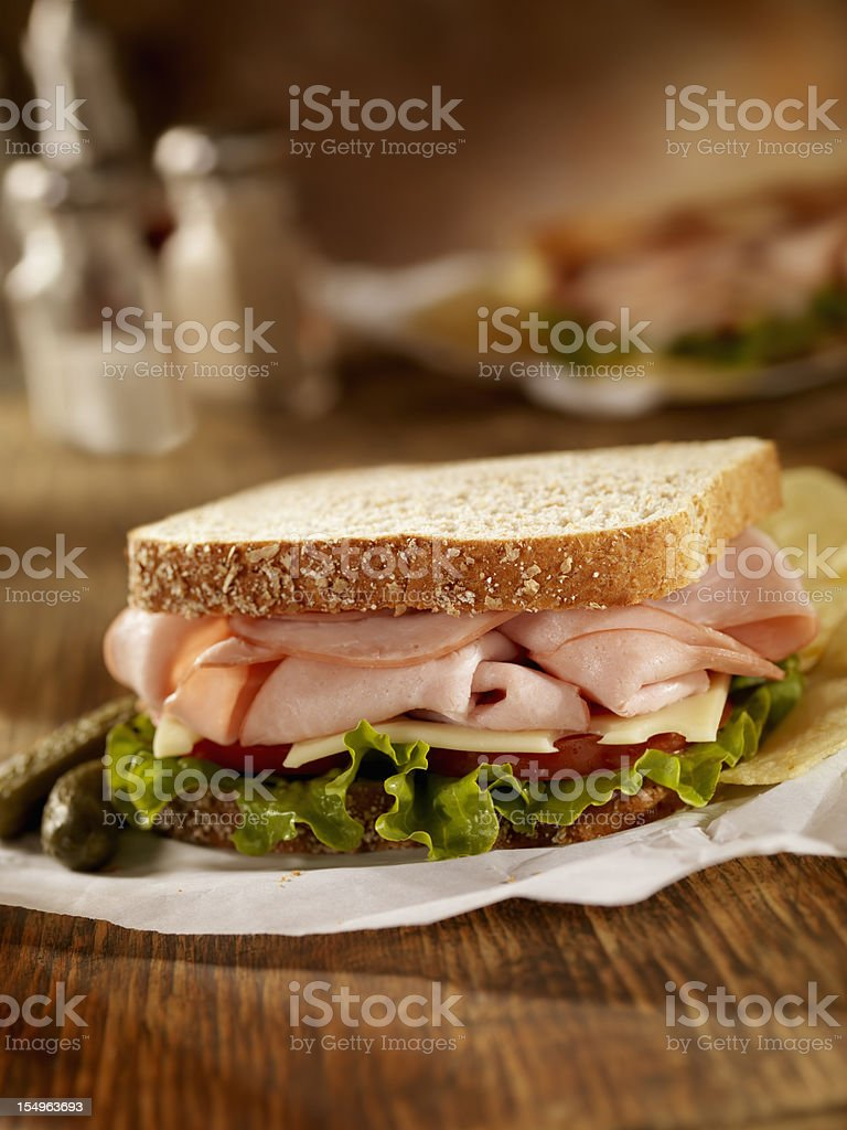 Smoked Ham and Swiss Sandwich royalty-free stock photo