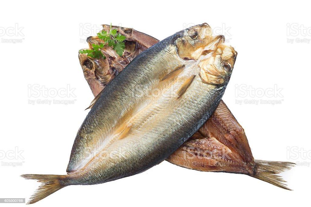 Smoked herring on a white background stock photo