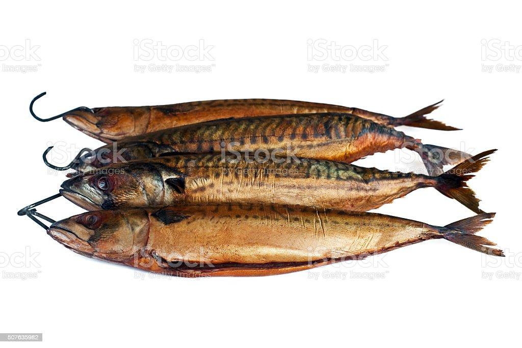 smoked mackerel isolated on a white background stock photo
