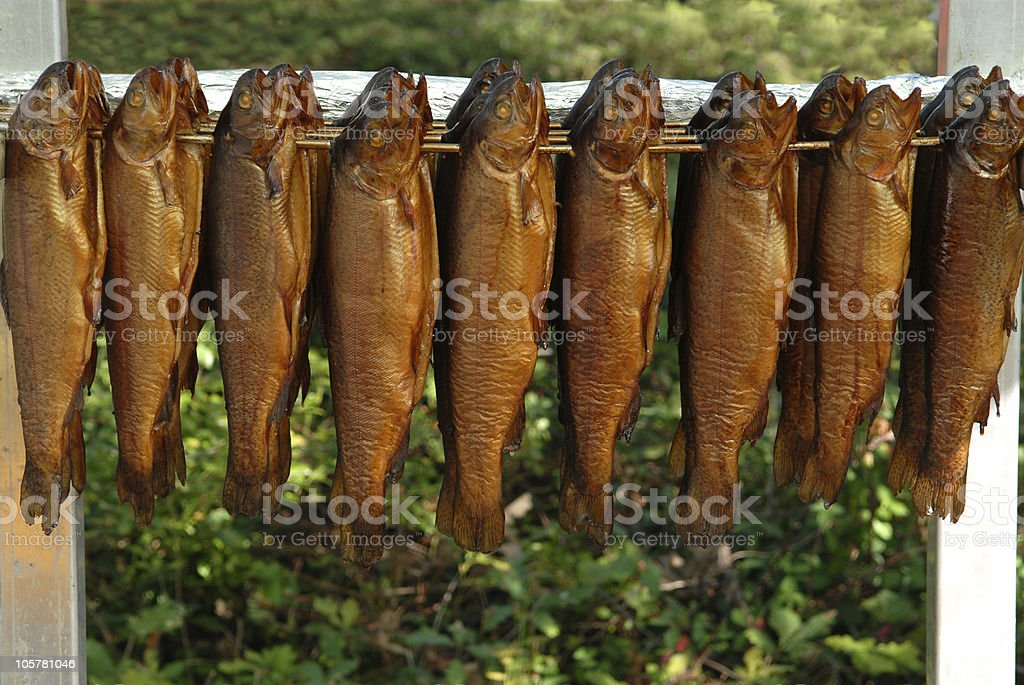 smoked mackerels stock photo