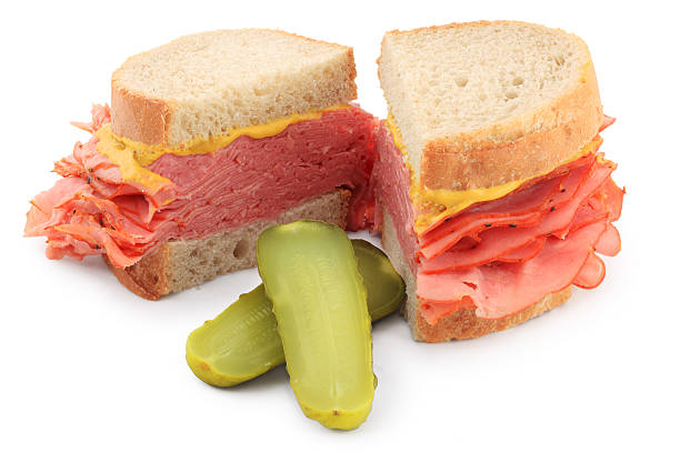 smoked meat sandwich - pastrami stock pictures, royalty-free photos & images