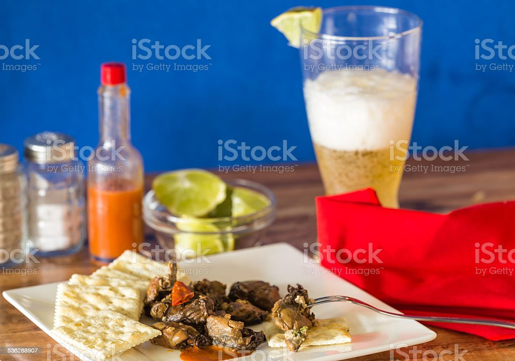 Smoked Oysters and Beer stock photo