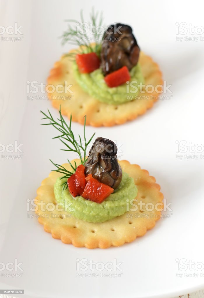 Smoked Oysters Hors d'oeuvre stock photo