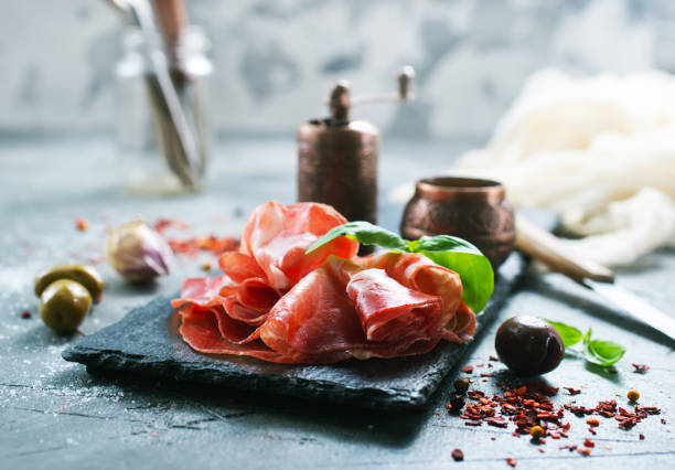 smoked parma ham stock photo