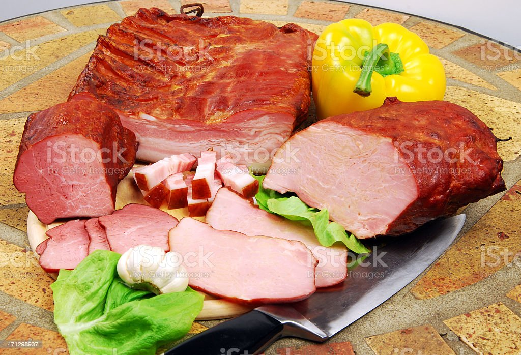 smoked pork, mix royalty-free stock photo