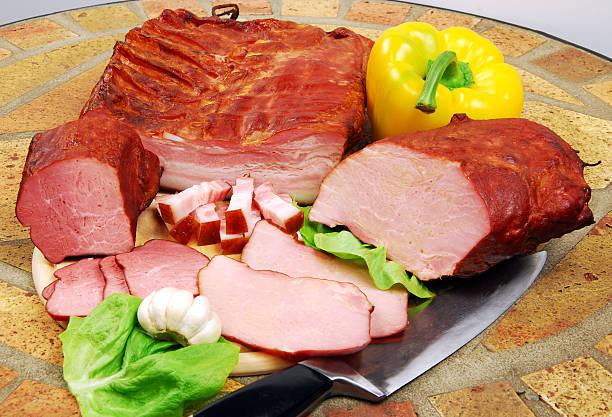 smoked pork, mix stock photo