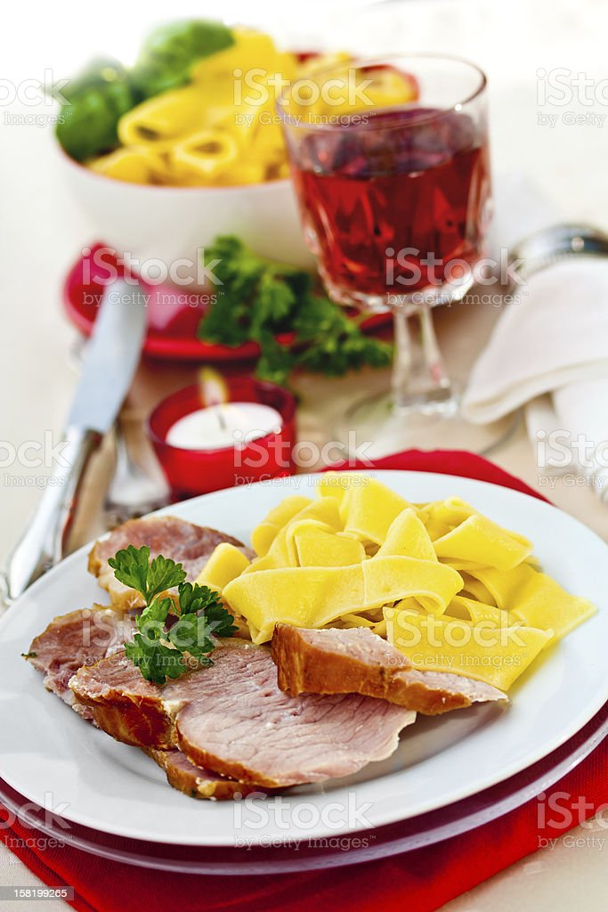 Smoked pork (Kassler) stock photo