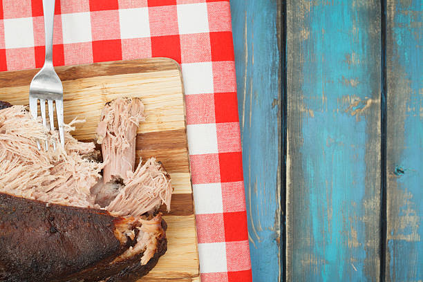 Smoked Pulled Pork Picnic Shoulder stock photo
