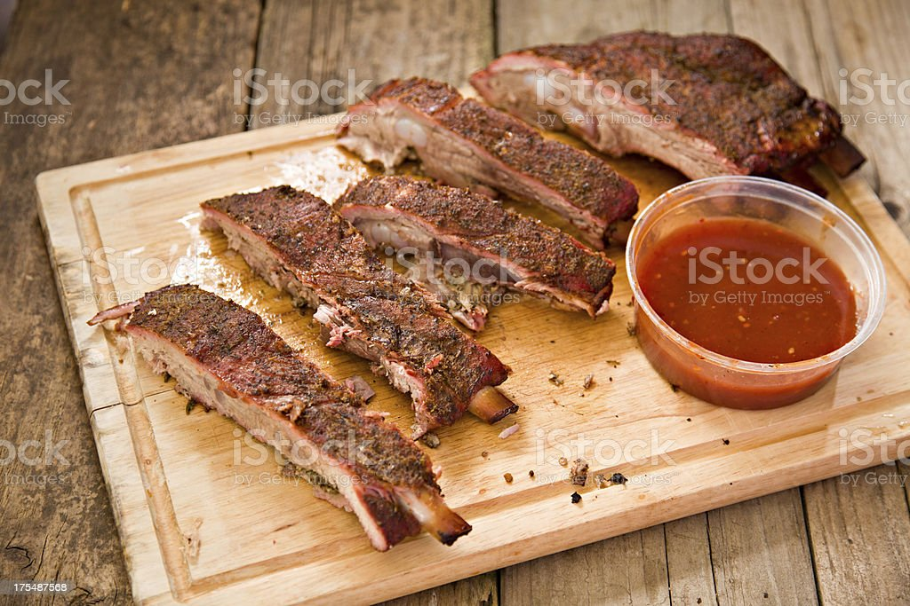 Smoked Ribs And Dipping Sauce royalty-free stock photo