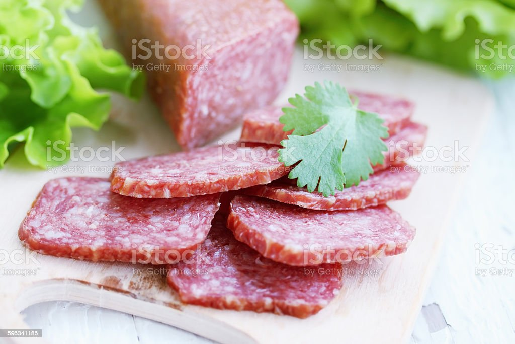 smoked salami royalty-free stock photo