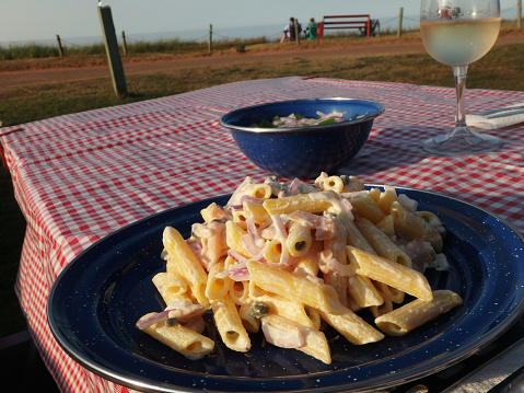 Smoked Salmon and Cream Cheese Pasta in Camping by the Sea
