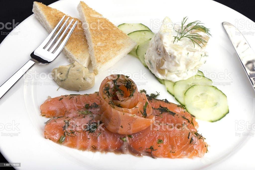Smoked salmon and potato salad royalty-free stock photo