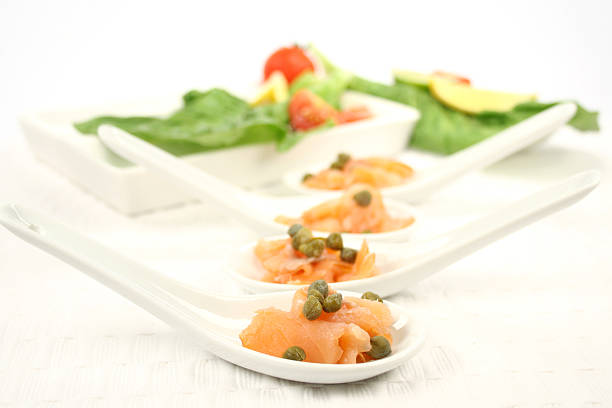smoked salmon appetiser - appetiser stock photos and pictures