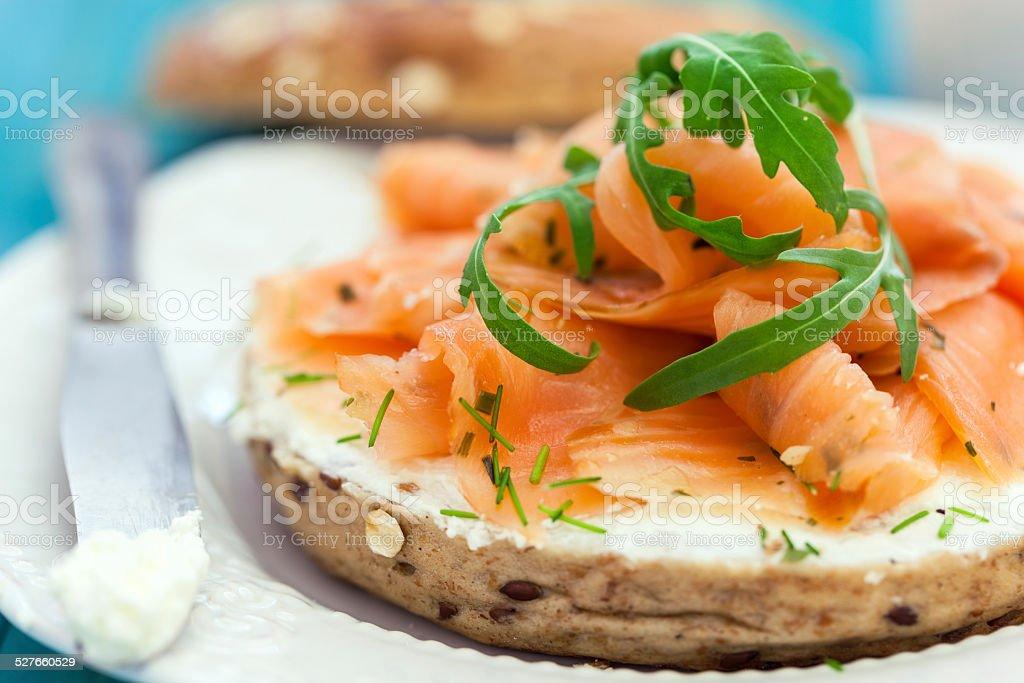 Smoked Salmon Bagel stock photo