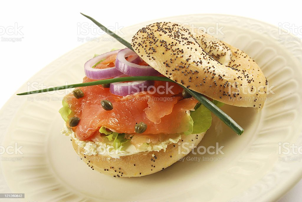 Smoked salmon bagel sandwich stock photo