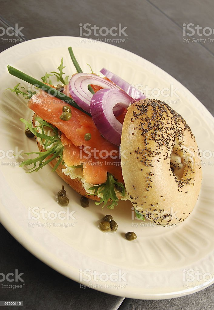 Smoked salmon bagel sandwich royalty-free stock photo