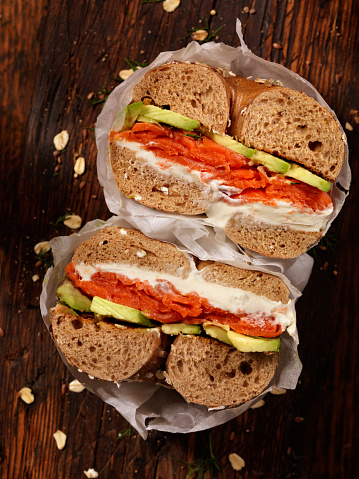 Smoked Salmon Bagel with Cream Cheese and Avocado -Photographed on Hasselblad H3D2-39mb Camera